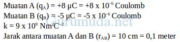 Contoh soal hukum Coulomb - 2